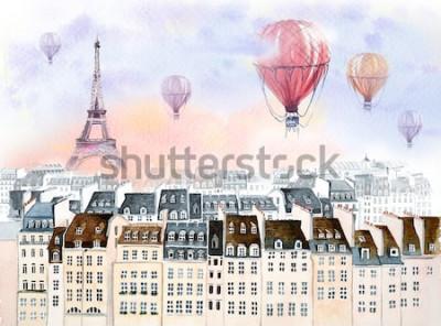 Quadro Parigi con mongolfiera
