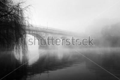Quadro Parte storica di Barcelos in una mattina nebbiosa (foto HDR in bianco e nero)