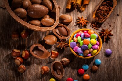 Quadro Pasqua sfondo di cioccolato