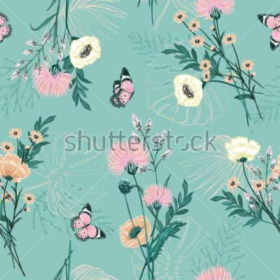 Quadro Pastello alla moda di molti tipi di fiore giardino, piante, botanico, farfalla, disegno vettoriale modello senza cuciture per moda, tessuto, carta da parati e tutte le stampe su colore di sfondo verde