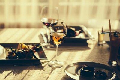 Quadro pasto servito e vino