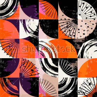 Quadro Pattern di sfondo astratto, con cerchi, punti, quadrati, tratti e schizzi