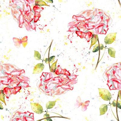 Quadro Pattern di sfondo trasparente con rose dell'acquerello, schizzi e farfalle