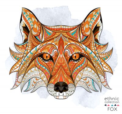Quadro Patterned capo della volpe rossa sullo sfondo del grunge. / Disegno / totem / tatuaggio indiano africano. Esso può essere utilizzato per la progettazione di una t-shirt, sacchetto, cartolina, un poste