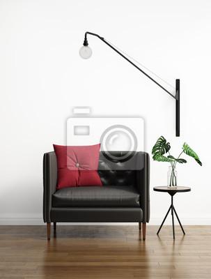 Pelle nera divano abbottonato in un interno bianco dipinti da parete ...