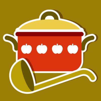 Quadro Pentola e mestolo. Simboli della cucina Vector