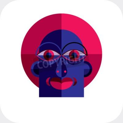 Quadro Personalità faccia illustrazione vettoriale colorato a base di figure geometriche. immagine Design piatto, stile cubismo.