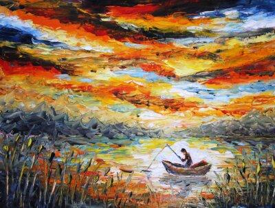 Quadro Pesca, le nuvole, il fiume. tramonto, la pittura. Spatola
