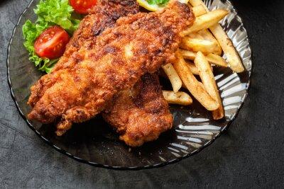 Quadro Pesce fritto in pastella croccante con chip