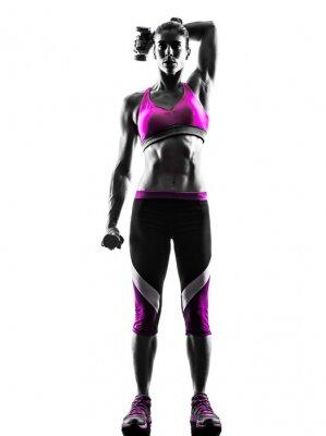 Quadro Pesi donna esercizi di fitness silhouette