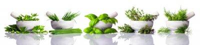 Quadro Pestello e mortaio con erbe verde su sfondo bianco