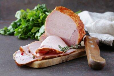 Quadro pezzo di carne arrosto (prosciutto) con pepe e timo