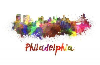 Quadro Philadelphia skyline in acquerello