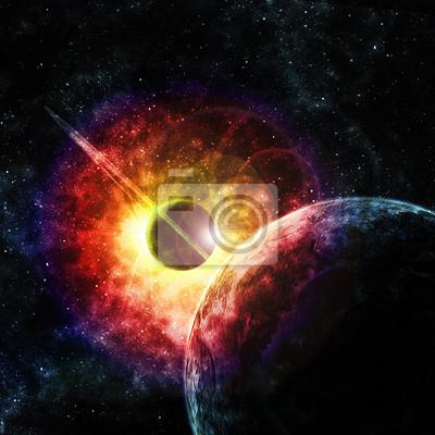 Quadro pianeta con gli anelli