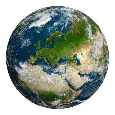 Quadro Pianeta terra con le nuvole. Europa, parte dell'Africa e dell'Asia.