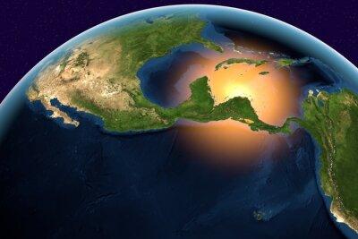 Quadro Pianeta Terra, la Terra dallo spazio da America Centrale, Belize, Costa Rica, El Salvador, Guatemala, Honduras, Nicaragua, Panama sul globo durante il giorno, gli elementi di questa immagine fornita d