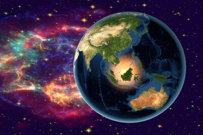 Quadro Pianeta Terra sullo sfondo con le stelle e le galassie, la Terra dallo spazio che mostra Indonesia, Australia, India e Malesia sul globo durante la notte, gli elementi di questa immagine fornita dalla