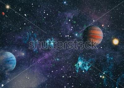 Quadro pianeti, place e galassie nello spazio esterno cucina mostra la bellezza dell'esplorazione dello spazio. Elementi forniti dalla NASA