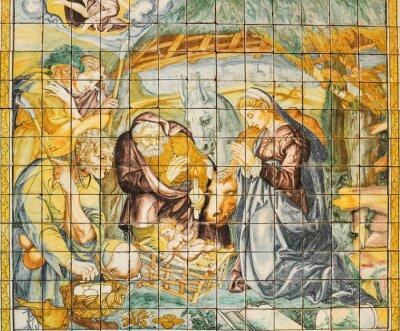 Quadro piastrelle di ceramica religiosi, Natività, Lisbona, Portogallo