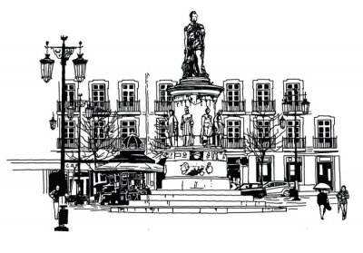 Quadro piazza Camoes a Lisbona