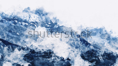 Quadro Picco di montagna in inverno te dolgono in tono blu su sfondo bianco, pittura digitale ad acquerello