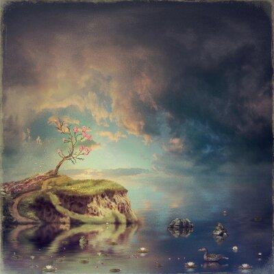 Quadro Piccola isola con un albero di sakura sul fiume