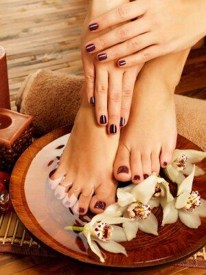 Quadro piedi femminili in salone spa procedura di pedicure