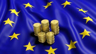Quadro Pile di monete d'oro in euro sulla bandiera ondulato dell'Unione Europea