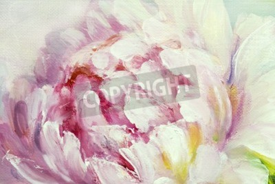Quadro Pink and white peony background. Oil painting floral texture