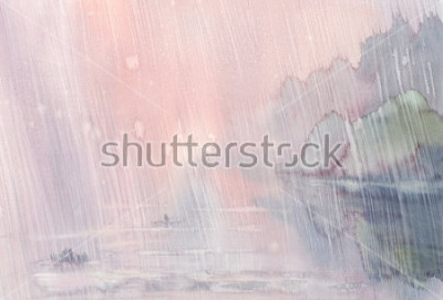 Quadro pioggia dell'acquerello paesaggio mattutino