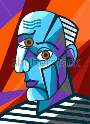 Quadro pittore ritratto cubista