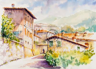 Quadro Pittoresco villaggio di Vesio sopra il Lago di Garda, regione Lombardia d'Italia. Immagine creata con acquerelli.