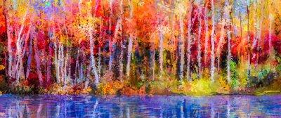 Quadro pittura a olio alberi colorati d'autunno. Semi immagine astratta di foreste, alberi della tremula con il giallo - foglia rossa e il lago. Autunno, cadono sfondo stagione natura. Impressionista dipinta