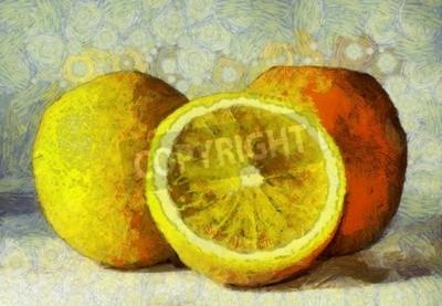 Quadro pittura a olio arance frutti su bianco