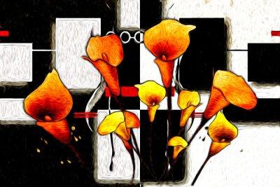 Quadro Pittura a olio astratta del fiore