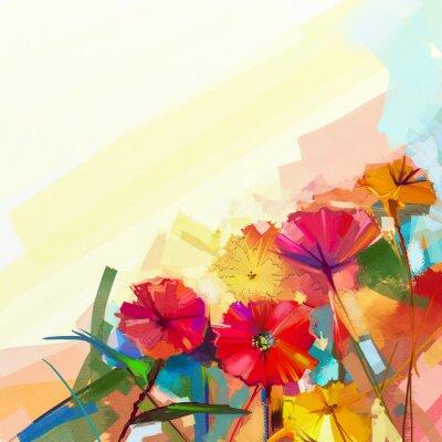 Quadro Pittura a olio astratta di fiori primaverili. Still life di giallo e rosso fiore gerbera. Fiori variopinti bouquet con sfondo chiaro colore verde-blu. Dipinto a mano floreale stile impressionista mode
