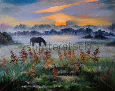 Quadro Pittura a olio del campo al tramonto