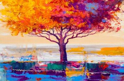 Quadro Pittura a olio dell'albero, fondo artistico