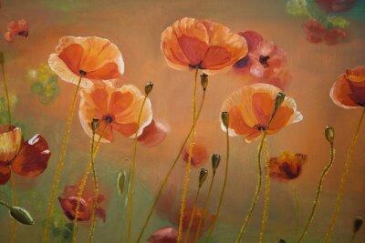 Quadro pittura a olio di papavero rosso fiori. Natura di primavera sfondo floreale