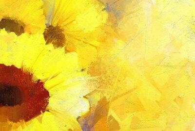 Quadro Pittura a olio di semi di girasole sfondo dorato.