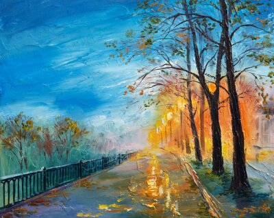 Quadro Pittura a olio di sera autunno strada