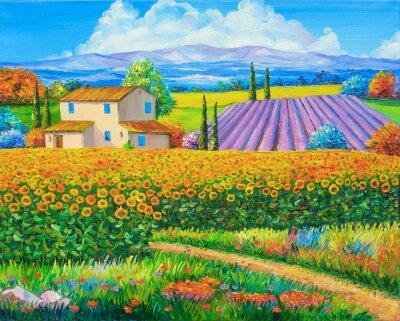 Quadro pittura a olio originale di semi di girasole e campi di lavanda