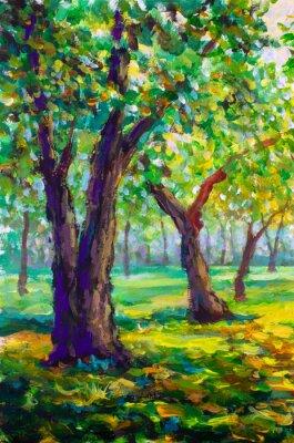 Quadro Pittura a olio originale, stile contemporaneo. Grandi grandi querce nella foresta del parco - paesaggio verde soleggiato della molla