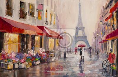 Quadro Pittura a olio originale su tela - Parigi - Torre Eiffel - una coppia di amanti sotto un ombrello - Arte Moderna