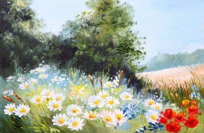 Quadro Pittura a olio paesaggio - prato di margherite