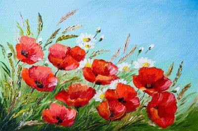 Quadro pittura a olio - papaveri nel campo