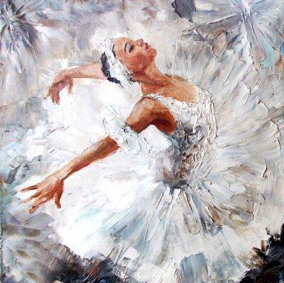 Quadro pittura a olio, ragazza ballerina. disegnato danza carino ballerina