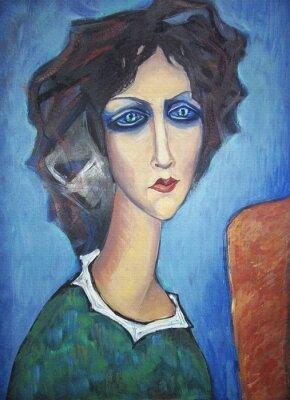 Quadro Pittura acrilica colorata. Canvas. Ritratto di collo lungo donna azzurri in un abito verde con un colletto bianco al cavalletto su sfondo blu. Arredamento d'interni.