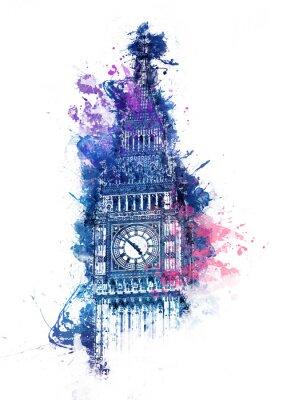 Quadro pittura ad acquerello colorato di Big Ben