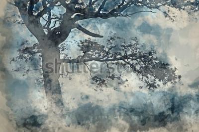 Quadro Pittura ad acquerello del bellissimo paesaggio della campagna intorno Cummock Acqua in autunno sulla mattina nebbiosa